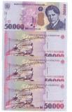 Bancnote 50000 lei din 2000, necirculate, numere consecutive, patru bancnote