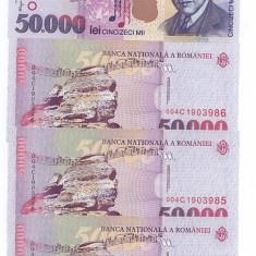 Bancnote 50000 lei din 2000, necirculate, numere consecutive, patru bancnote - Bancnota romaneasca