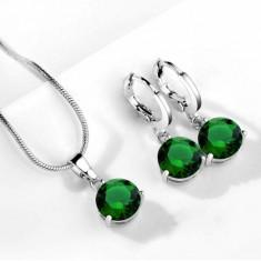 Set bijuterii cu cristale verzi - Set bijuterii handmade si fashion
