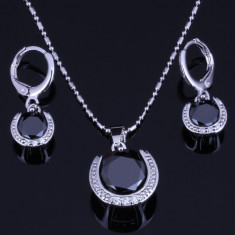 Bijuterii argint placat Black Onyx White
