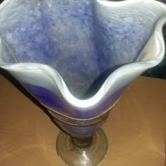 Vaza flori model antic,sticla Murano si foita cupru,vaza de colectie,32/18,super