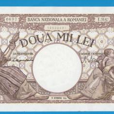 2000 lei 1944 10 Octombrie 2 aUNC FILIGRAN TRAIAN - Bancnota romaneasca