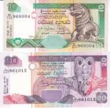 Bancnota Sri Lanka 10 si 20  Rupii 2001 - P115a/ 116a UNC ( set 2 bancnote )