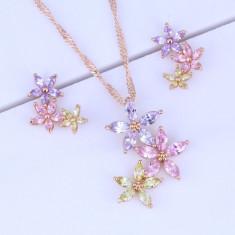 Bijuterii Multicolor Flower Cubic Zirconia - Set bijuterii handmade si fashion