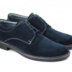 Pantofi barbati piele naturala velur bleumarin casual-eleganti cu siret, Marime: 37, 38, 39, 40, 41, 42, 43, 44, 45