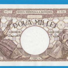 2000 lei 1944 10 Octombrie 6 UNC FILIGRAN TRAIAN - Bancnota romaneasca