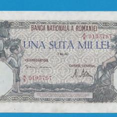 100000 lei 1947 8 Mai 5 XF - Bancnota romaneasca