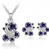 Cercei si colier Lory cu cristale - Set bijuterii handmade si fashion