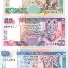 Bancnota Sri Lanka 10, 20 si 50 Rupii 2001 - P115a-117a UNC ( set 3 bancnote )