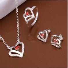 Cercei, colier si inel inimioare - Set bijuterii placate cu aur