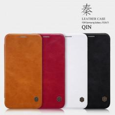 Husa Samsung Galaxy J7 2017 Qin Leather rosie by Nillkin - Husa Telefon Samsung, Rosu, Piele Ecologica, Cu clapeta, Toc