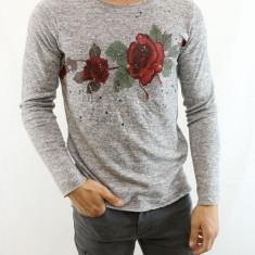 Bluza barbati gri cu maneca lunga imprimeu trandafir elastica slim fit fashion, Marime: M, L