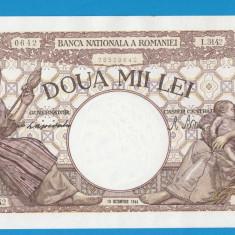 2000 lei 1944 10 Octombrie 4 aUNC FILIGRAN TRAIAN - Bancnota romaneasca