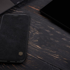 Husa Samsung Galaxy J7 2017 Qin Leather neagra by Nillkin, Alt model telefon Samsung, Negru, Piele Ecologica