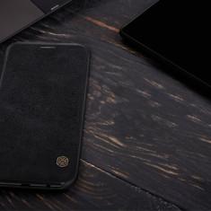 Husa Samsung Galaxy J7 2017 Qin Leather neagra by Nillkin - Husa Telefon Samsung, Negru, Piele Ecologica, Cu clapeta, Toc
