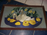 Tablou vechi taranesc cusut manual,tablou cusut manual cu rama protejat de geam