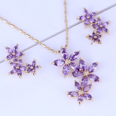Bijuterii Purple Amethyst Flower - Set bijuterii handmade si fashion