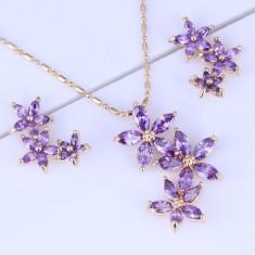 Bijuterii Purple Amethyst Flower - Set bijuterii handmade si fashion