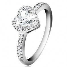 Inel din argint 925 - inimă strălucitoare cu margine din zirconii transparente - Inel argint