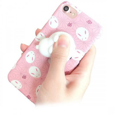Husa Apple iPhone 7 3D Squishy Lovely Rabbit roz foto