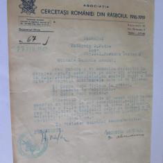 Comunicare 1942 cu antetul/stampila Cercetasii Romaniei din Rasboiul 1916-1919