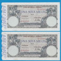 100000 lei 1947 8 Mai 8 XF 2 Serii Consecutive - Bancnota romaneasca