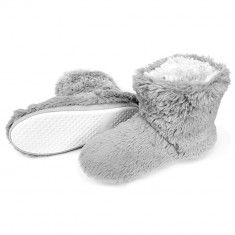Papuci De Interiro Tip Cizmulite, Model Bear Fur Gray, Cod 1392 - Papuci dama, Culoare: Gri