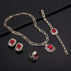 Bijuterii elegante cu cristale rosii