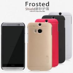Husa HTC ONE M8 Cauciucata + Folie Protectie by Nillkin Neagra - Husa Telefon HTC, Negru, Plastic, Fara snur, Carcasa