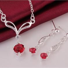 Cercei si colier Cristina placate cu argint - Set bijuterii handmade si fashion