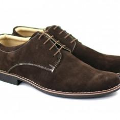 Pantofi barbati piele naturala velur maro casual-eleganti cu siret, Marime: 37, 38, 39, 40, 41, 42, 43, 44, 45