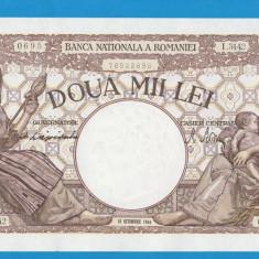 2000 lei 1944 10 Octombrie 3 aUNC FILIGRAN TRAIAN - Bancnota romaneasca
