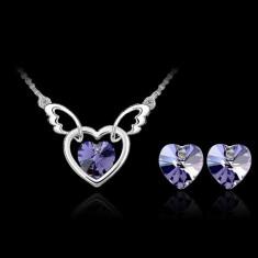 Cercei, colier Mariana cu cristale - Set bijuterii placate cu aur