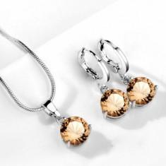 Set bijuterii cu cristale maro - Set bijuterii handmade si fashion