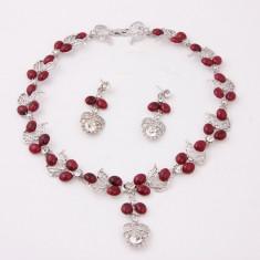 Bijuterii elegante cu gargarite placate cu argint - Set bijuterii handmade si fashion