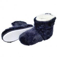 Papuci De Interiro Tip Cizmulite, Model Bear Fur Blue, Cod 1393 - Papuci dama, Culoare: Albastru, Marime: 38