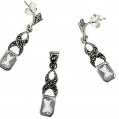 Set argint cu acvamarin si marcasite - Set bijuterii argint