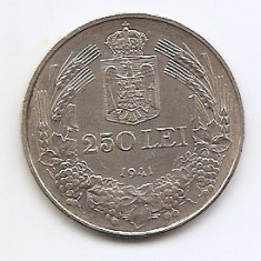 Romania 250 Lei 1941 – Carol II, Argint 12g/835, MV1-28, 30 mm KM-59.2 - Moneda Romania