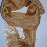Esarfa fashion cu franjuri lungi si aspect lucios, de culoare aurie (Culoare: AURIU) - Esarfa, Sal Dama