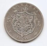 Romania 5 Lei 1880 – Carol I, Argint 25g/925, MV1-24 , 37 mm KM-12