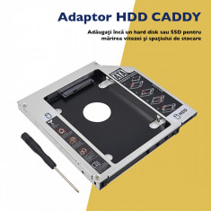 Adaptor  HDD Caddy Laptop Universal 9.5 mm SATA III  - Rack Unitate Optica