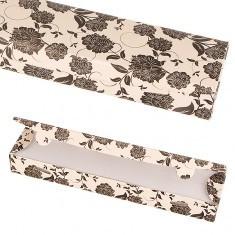 Cutie de cadou din hârtie - bej cu flori negre - Cutie Bijuterii
