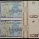Lot / Set 2 Bancnote Serii Consecutive 5000 Lei- ROMANIA, anul 1993 *cod 627 UNC - Bancnota romaneasca