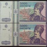 Lot / Set 2 Bancnote Serii Consecutive 5000 Lei- ROMANIA, anul 1993 *cod 629 UNC - Bancnota romaneasca