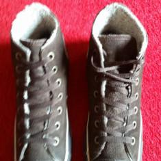 Converse All Star originali, high top, piele nat.imblaniti, nr.39-24, 5 cm - Tenisi dama Converse, Culoare: Maro, Piele intoarsa