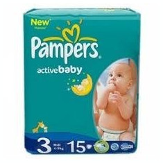 PAMPERS SMALL ACTIVE NR.3 MIDI 4-9KG 15BUC