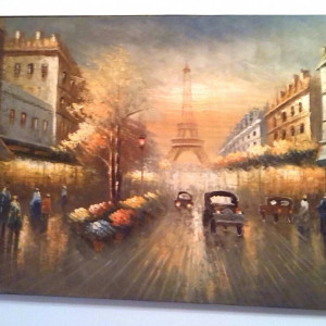 Tablou  tour eiffel Paris 61x93cm ulei pe panza