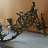 Pereche sfeșnice bronz aplică perete - Metal/Fonta