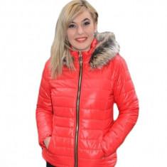 Jacheta practica de toamna, iarna, nuanta rosie, din fas usor lucios (Culoare: ROSU, Marime: S-36) - Jacheta dama