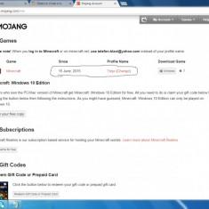 Vand cont minecraft + capa - Jocuri PC Microsoft Game Studios